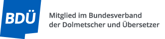 Logo Mitglied im Bundesverband der Dolmetscher und Übersetzer