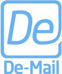De-Mail-Logo, blau auf weißem Grund