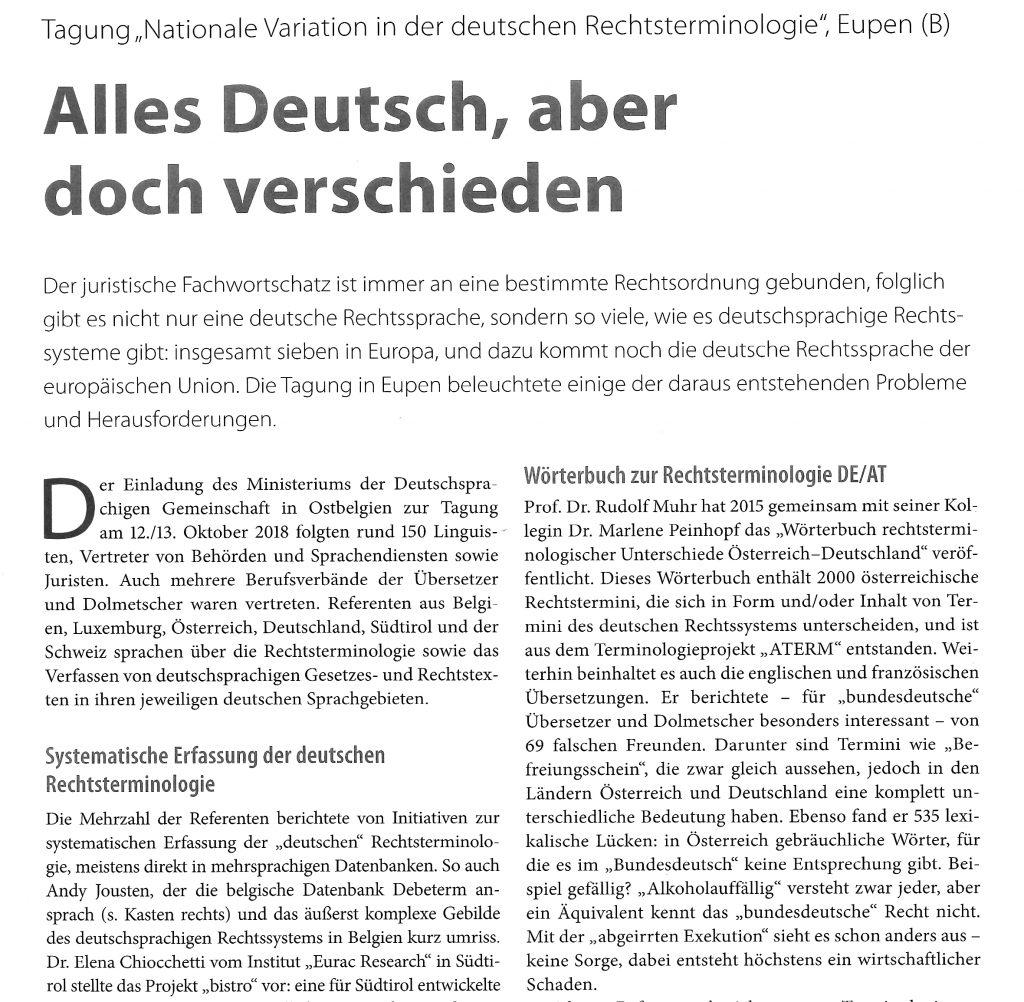 """Das Bild zeigt als Vorschau die erste Viertelseite eines Fachartikels über eine Tagung mit dem Titel """"Nationale Variation in der deutschen Rechtsterminologie."""""""