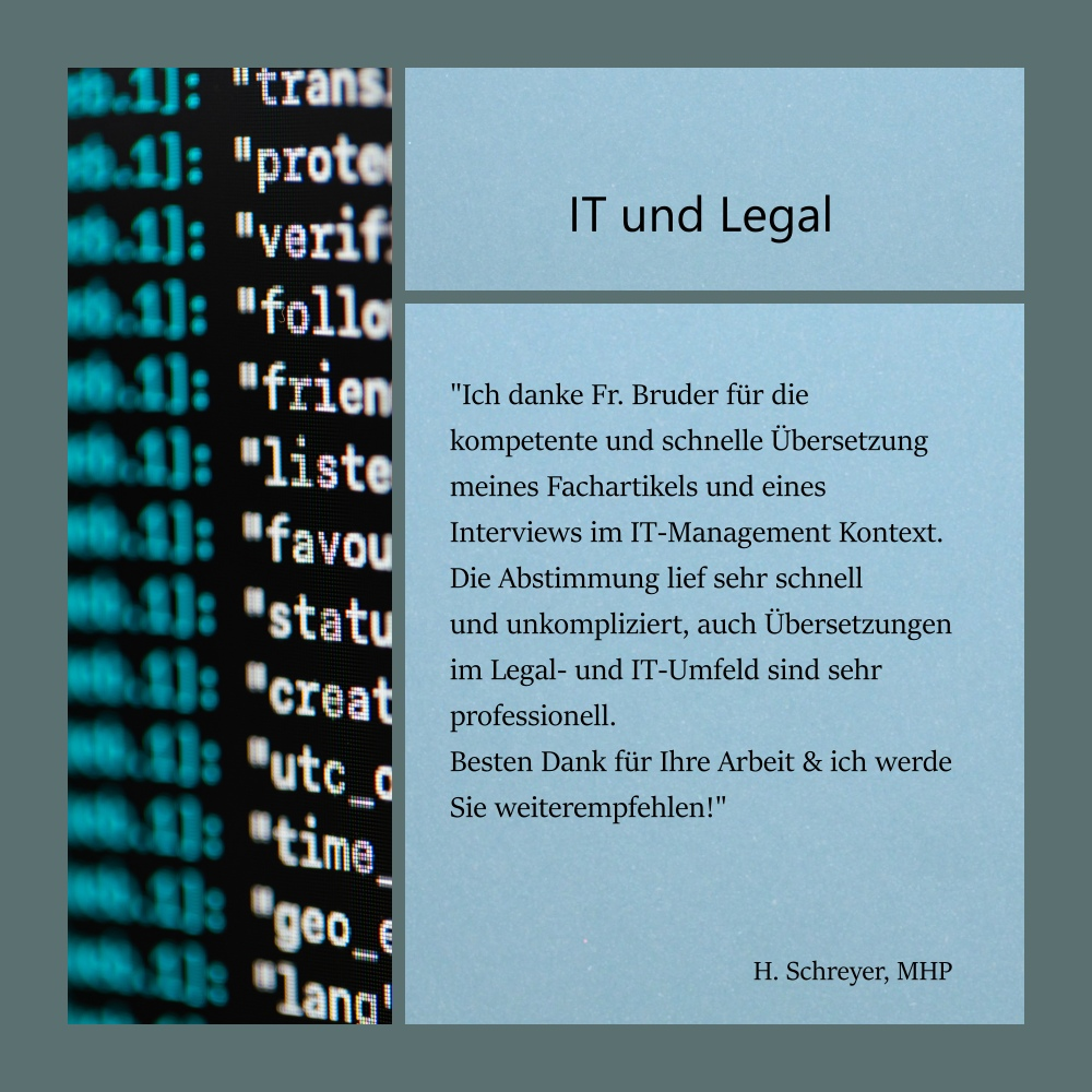 Collage mit Referenz eines Kunden zu Übersetzungen im Bereich IT-Management und Recht