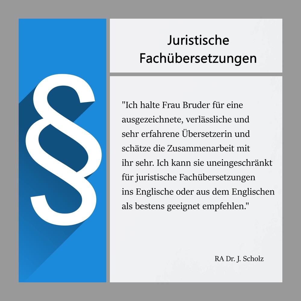 Collage mit Referenz eines Kunden zu juristischen Fachübersetzungen