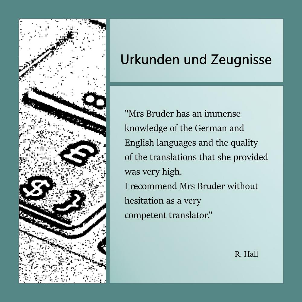 Collage mit Referenz eines Kunden zu Übersetzungen im Bereich der Urkundenübersetzungen