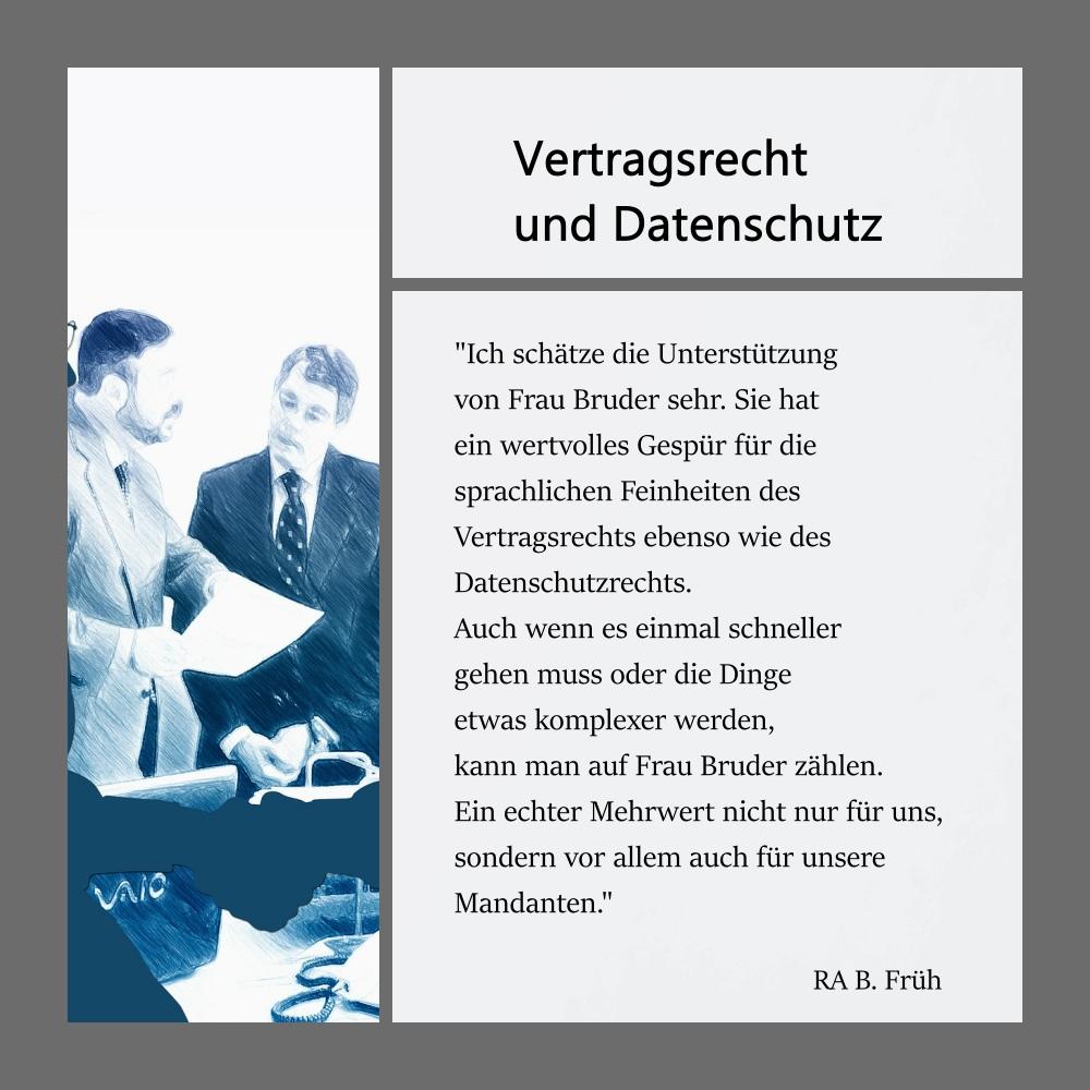 Collage mit Referenz eines Kunden zu Übersetzungen im Bereich Vertragsrecht und Datenschutz