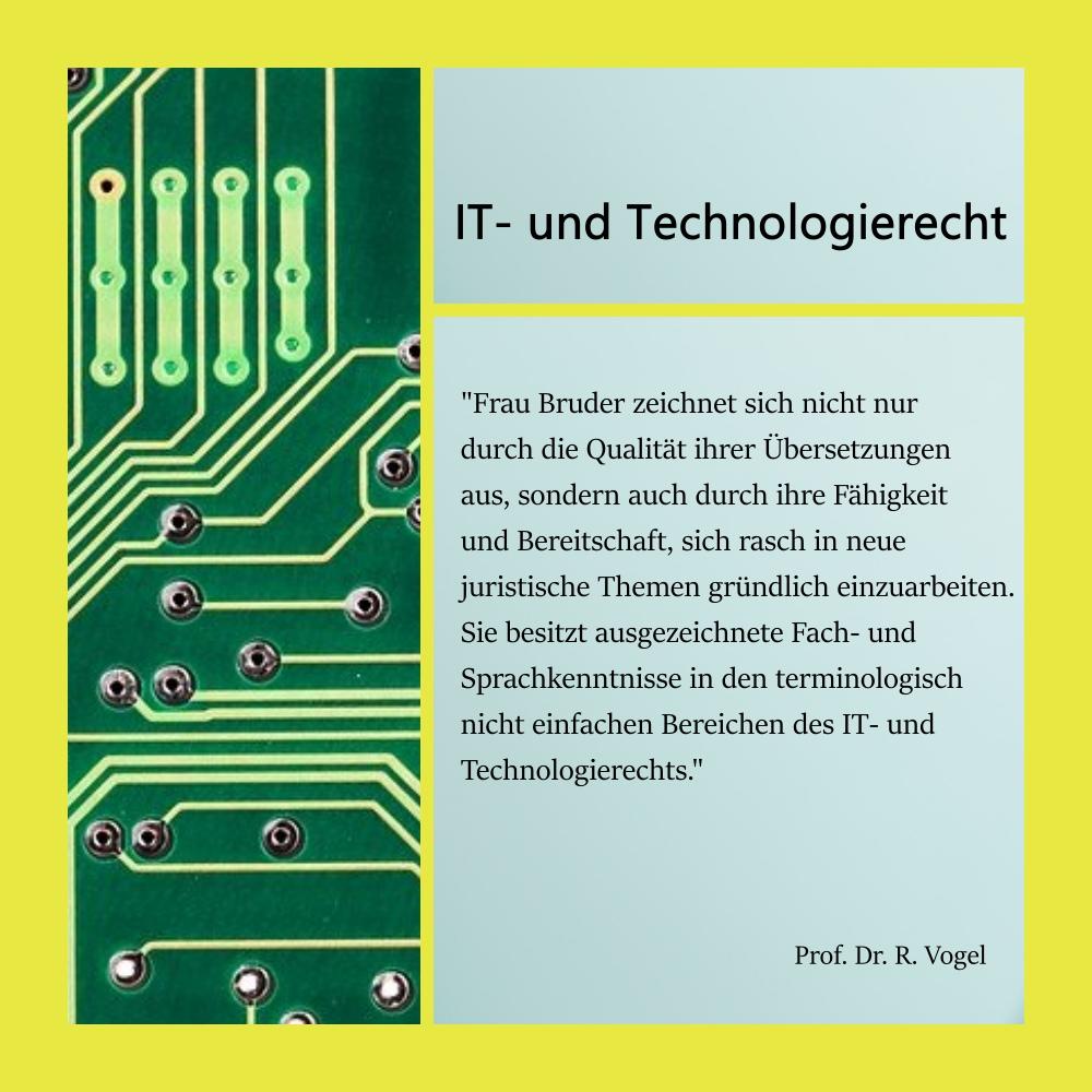 Collage mit Referenz eines Kunden zu Übersetzungen im Bereich IT-Recht und Technologierecht